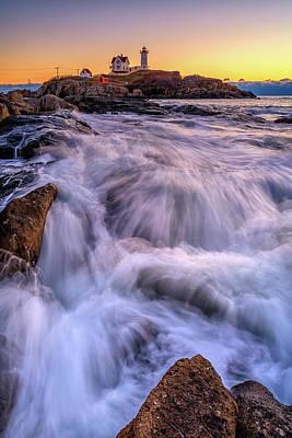 Photograph - Tidal Cascade At Cape Neddick by Rick Berk