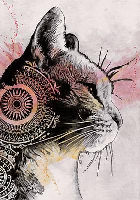 Tides Of Tomorrow - Mandala Tabby Cat Drawing, Animal Portrait Original