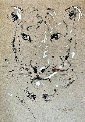 Animals Drawings - Tiger Stare by C F Legette