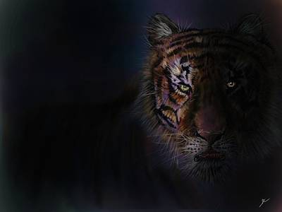 Digital Art - Tiger In The Dark by Darren Cannell