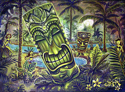 Painting - Tiki Genie's Sacred Pools by CBjork Art