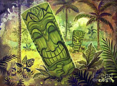 Painting - Tiki Green Leaf by CBjork