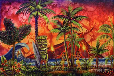 Painting - Tiki Hula Surf A Lot by CBjork
