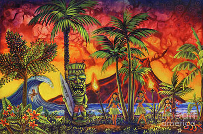 Painting - Tiki Surf A Lot by CBjork Art