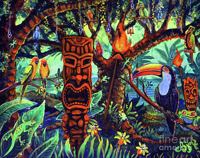 Painting - Tiki Toucan's Tropical Island Rainforest by CBjork