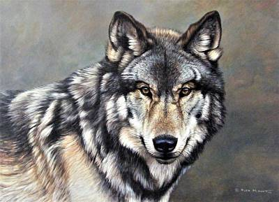 Art Print featuring the painting Timber Wolf By Alan M Hunt by Alan M Hunt