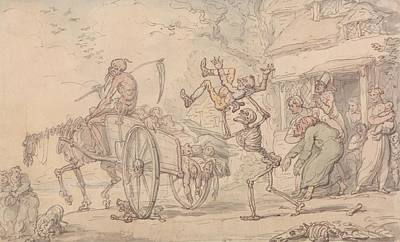 Drawing - Time And Death And Goody Barton by Thomas Rowlandson