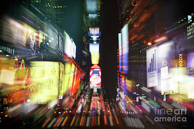 Night Shot Wall Art - Photograph - Times Square At Night Double Exposure New York City by John Rizzuto