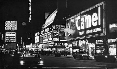 Times Square At Night Art Print by Fred W. McDarrah