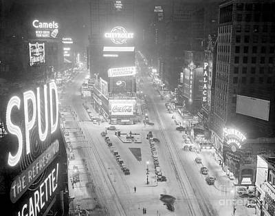 Photograph - Times Square Covered In Snow. View Is by New York Daily News Archive