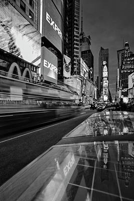 Photograph - Times Square Nyc Bw by Susan Candelario