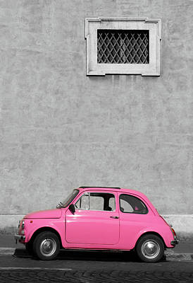 Photograph - Tiny Pink Vintage Car, Rome Italy by Romaoslo