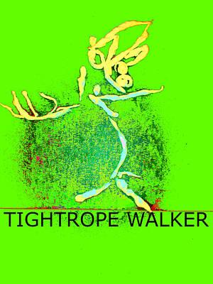 Digital Art - Tissue Paper Saga Tightrope Walker by Artist Dot
