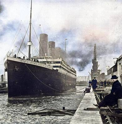Thomas Kinkade Royalty Free Images - Titanic at Southampton docks Royalty-Free Image by Artistic Panda