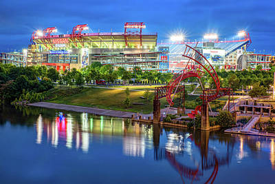 Royalty-Free and Rights-Managed Images - Titans Football Stadium on the River - Nashville Tennessee at Dawn by Gregory Ballos