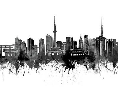 Abstract Skyline Royalty-Free and Rights-Managed Images - Tokyo Skyline Bw by Bekim M