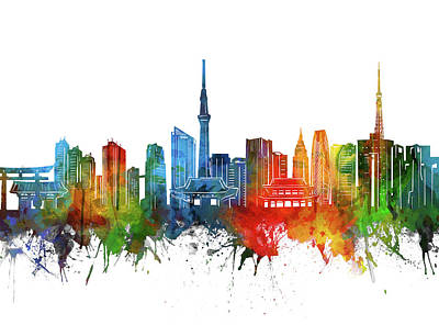 Abstract Skyline Royalty-Free and Rights-Managed Images - Tokyo Skyline Watercolor 2 by Bekim M