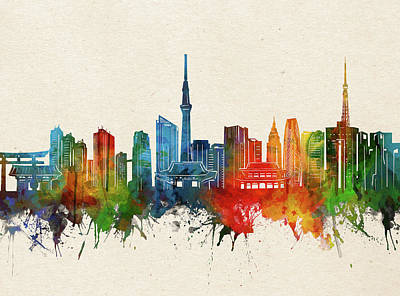 Abstract Skyline Royalty-Free and Rights-Managed Images - Tokyo Skyline Watercolor by Bekim M