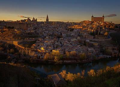 Wall Art - Photograph - Toledo Spain Cityscape At Dusk by Joan Carroll