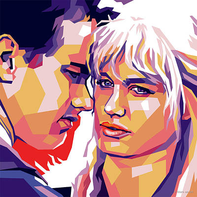 Colorful Button - Tom Hanks and Daryl Hannah by Stars on Art