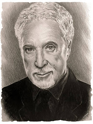 Musicians Drawings Rights Managed Images - Tom Jones sepia Royalty-Free Image by Andrew Read