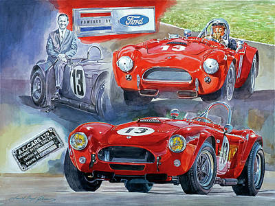 Sports Paintings - TOM PAYNES No 13  289 COBRA COMPETITION by David Lloyd Glover