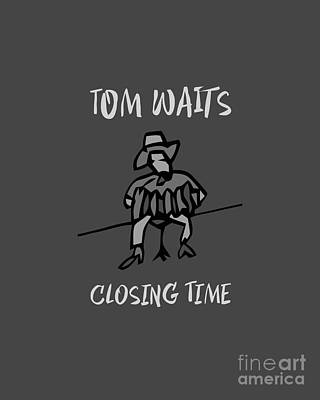 Musicians Drawings Rights Managed Images - Tom Waits - Closing Time - BW1 Royalty-Free Image by BlackLineWhite Art