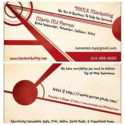 Digital Art - Toma Marketing Business Cards by Mario MJ Perron