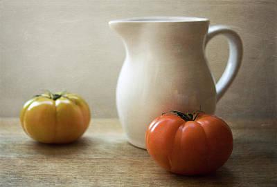 Yellow Photograph - Tomatoes And Jar by C.aranega