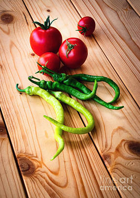 Kim Fearheiley Photography - Tomatoes And Peppers On Wooden Table by Jozef Jankola