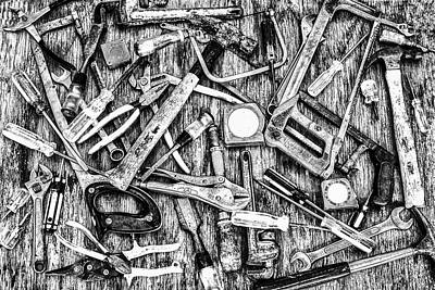 Photograph - Tools Grayscale by Joseph S Giacalone