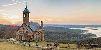 Aromatherapy Oils Royalty Free Images - Top of the Rock Chapel Sunset Panorama - Ridgedale Missouri Royalty-Free Image by Gregory Ballos