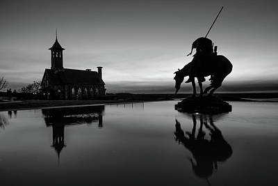 Photograph - Top Of The Rock Silhouettes - Ridgedale Missouri - Black And White by Gregory Ballos
