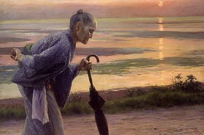 Ocean Sunset Wall Art - Painting - Top Quality Art - Old Woman by Wada Eisaku