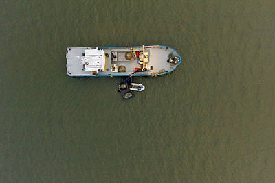 Recreational Boat Photograph - Top View Cockles Fishing Boat At Wadden by Roelof Bos