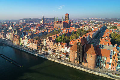 Photograph - Top View Of An Old Town In Gdansk, Poland. by Michal Bednarek