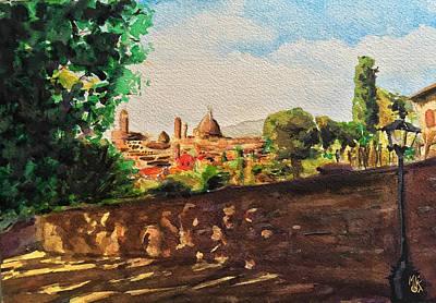Painting - Top view of Florence by Monika Arturi