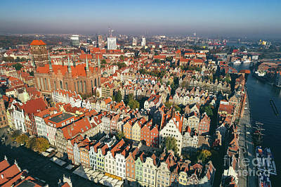 Photograph - Top View Of Old Town In Gdansk, Poland. by Michal Bednarek