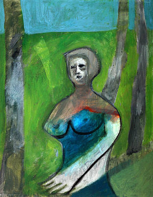 Painting - Topless Woman In A Park by Artist Dot
