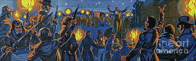 Painting - Torchlight Demonstration In Yorkshire  by Angus McBride