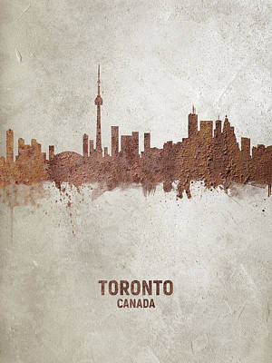 Digital Art - Toronto Canada Rust Skyline by Michael Tompsett