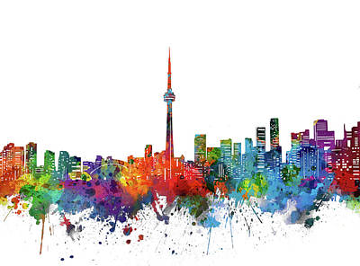 Abstract Skyline Royalty-Free and Rights-Managed Images - Toronto City Skyline Watercolor by Bekim M