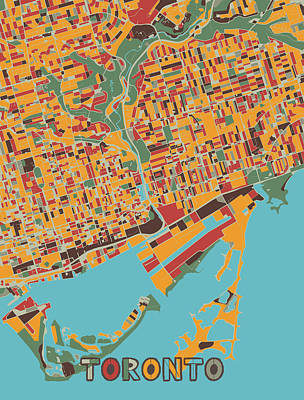 Royalty-Free and Rights-Managed Images - Toronto Map Retro by Bekim M