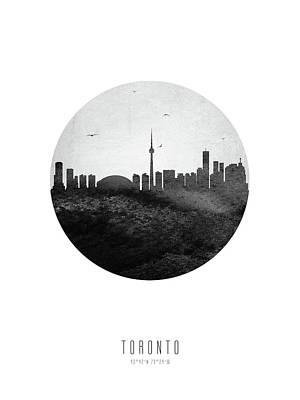 Digital Art - Toronto Skyline CAONTO04 by Aged Pixel