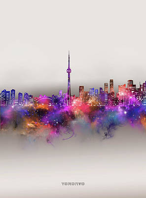 Abstract Skyline Royalty-Free and Rights-Managed Images - Toronto Skyline Galaxy by Bekim M
