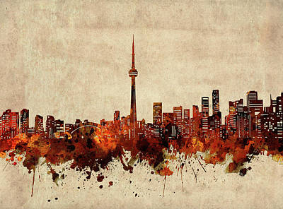 Abstract Skyline Royalty-Free and Rights-Managed Images - Toronto Skyline Sepia by Bekim M