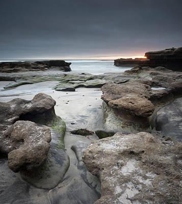 Photograph - Torrey Pines Beach Rocks At Dusk by William Dunigan