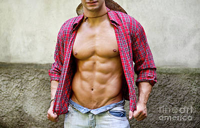 Roaring Red - Torso of muscular young man with open shirt by Stefano Cavoretto