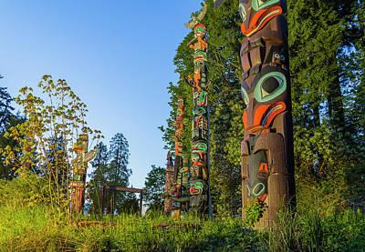 Photograph - Totem Poles, Brockton Point, Stanley by Michael Wheatley