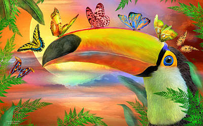 Mixed Media - Toucan And Butterflies by Carol Cavalaris